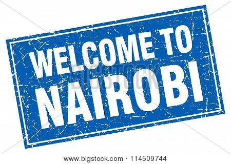 Nairobi Blue Square Grunge Welcome To Stamp