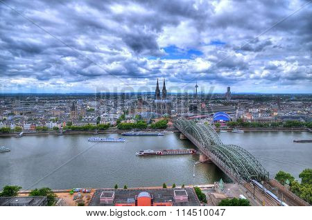 Beautiful view of Cologne (Koln) Germany aerial view over the Rhine River in HDR