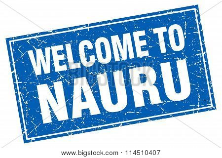 Nauru Blue Square Grunge Welcome To Stamp
