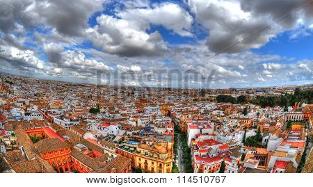 Beautiful panoramic view of the city of Seville (Spain) in HDR through fisheye lens