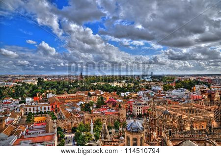 Beautiful panoramic view of the city of Seville (Spain) in HDR