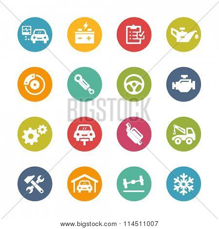 Car Service Icons // Fresh Colors Series ++ Icons and buttons in different layers, easy to change colors ++