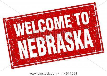 Nebraska Red Square Grunge Welcome To Stamp