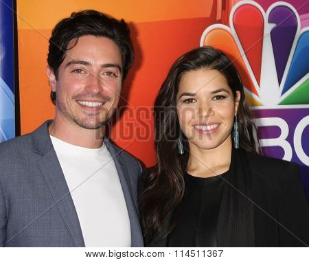 LOS ANGELES - JAN 13:  Ben Feldman, America Ferrera at the NBCUniversal TCA Press Day Winter 2016 at the Langham Huntington Hotel on January 13, 2016 in Pasadena, CA