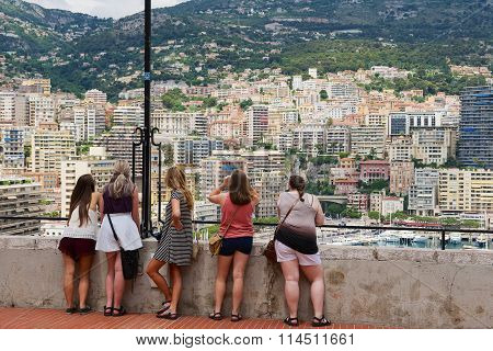 People enjoy the view from the viewpoint in Monaco.