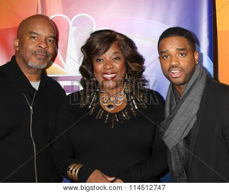 LOS ANGELES - JAN 13:  David Alan Grier, Loretta Devine, Larenz Tate at the NBCUniversal TCA Press Day Winter 2016  at the Langham Huntington Hotel on January 13, 2016 in Pasadena, CA