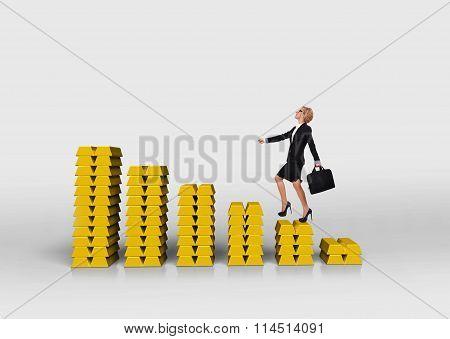 Woman Walking On Graph Of Gold Bullion