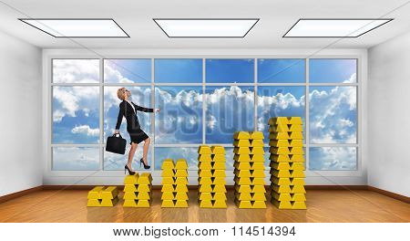 Businesswoman Climbing On Gold Graph