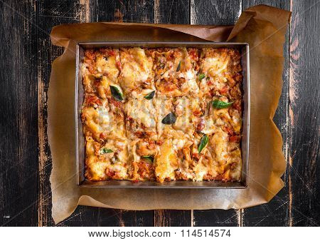 Top View Of A Traditional Italian Lasagna
