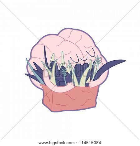 Feed your brain - an outlined vector illustration of enjoining brain hugging a bag of greens. Part of a Brain collection.