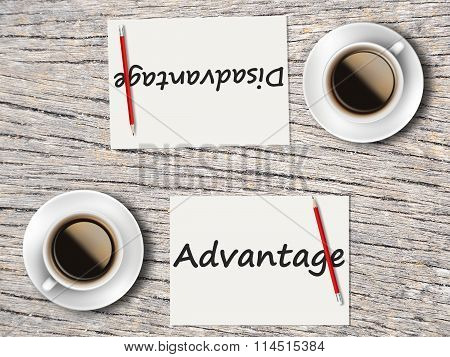 Business Concept : Comparison Between Advantage And Disadvantage