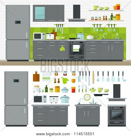 Modern Kitchen Utensils, Furniture, Interior