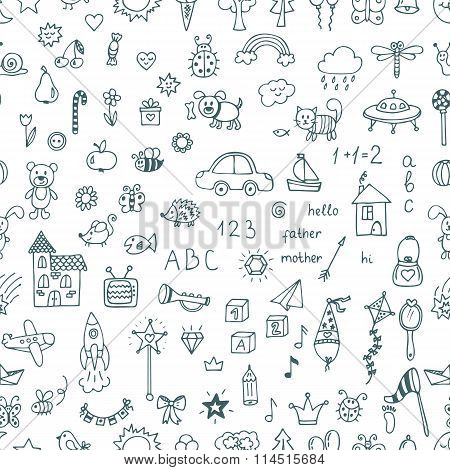 Cute Hand Drawn Children Drawings Seamless Pattern. Doodle Children Drawing Background