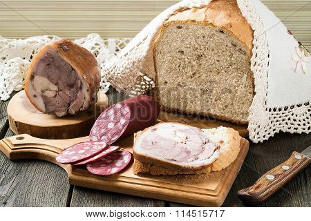 Russian Wholegrain Wheat Bread And Homemade Meat Products