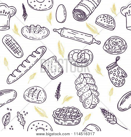 Seamless Pattern With Bread And Wheat. Hand Drawn Bakery Background