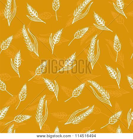 Seamless Pattern With Ears Of Wheat. Hand Drawn Bakery Background