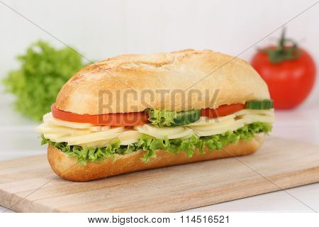 Sub Deli Sandwich Baguette With Cheese For Breakfast