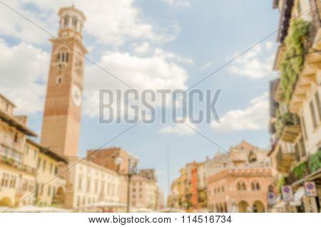 Defocused Background Of Piazza Delle Erbe, Verona, Italy