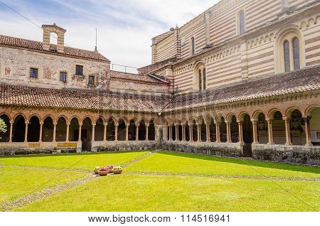 Cloister Of San Zeno Cathedral In Verona