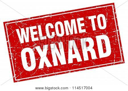 Oxnard red square grunge welcome to stamp