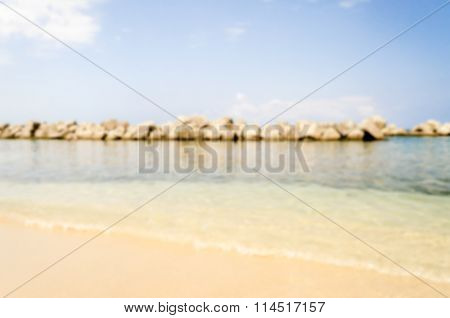 Defocused Background With The Beach Of Pizzo, Calabria, Italy
