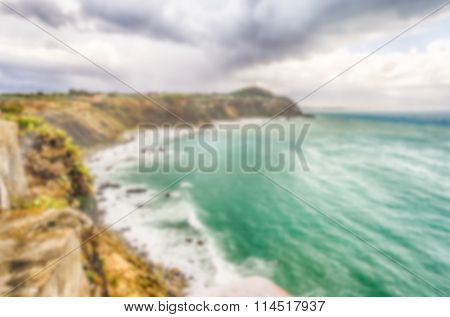 Defocused Background With Mediterranean Beach In Milazzo, Sicily, Italy