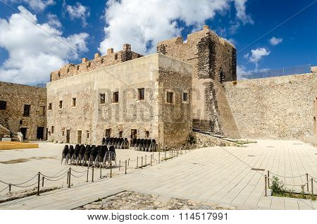 Courtyard Of Milazzo Castle, Sicily, Italy