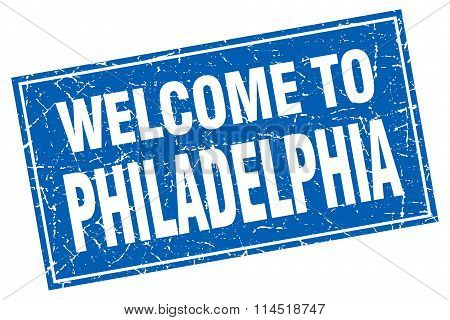 Philadelphia blue square grunge welcome to stamp