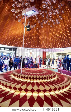 HONG KONG - DECEMBER 25, 2015: Christmas decorations at ifc shopping mall in Hong Kong. Hong Kong shopping malls are some of the biggest and most impressive in the world