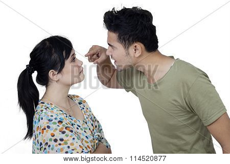 Angry Man Scolding His Wife