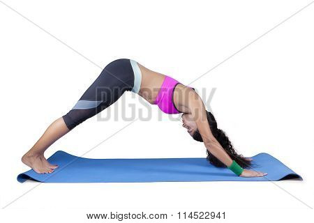 Fit Young Woman Doing Yoga Exercise