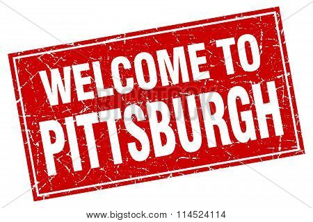 Pittsburgh red square grunge welcome to stamp