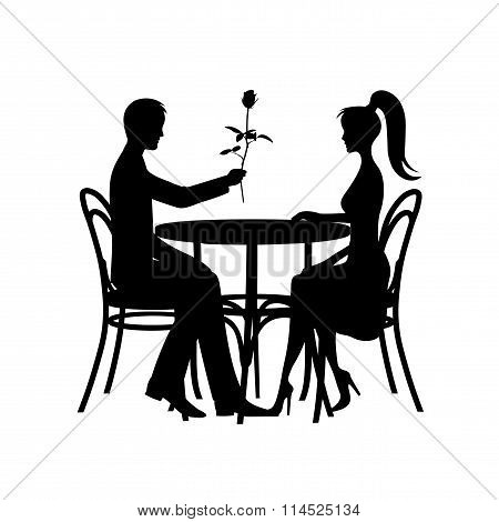 Silhouettes Of Romantic Couple In Love Meeting On A White Background