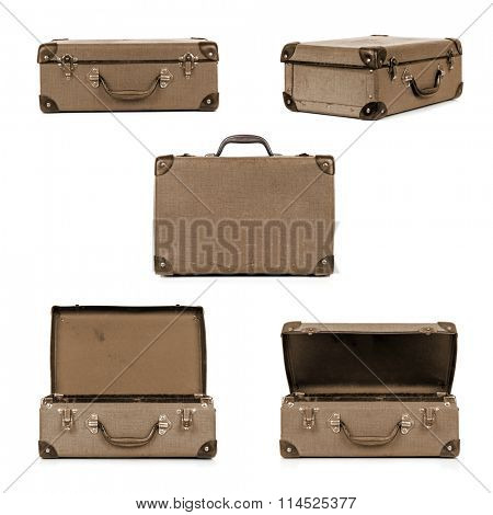 Vintage suitcase in different views, isolated on white.  Sepia tone.