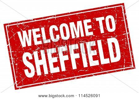Sheffield red square grunge welcome to stamp