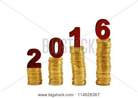 Pile Of Golden Coins With Numbers 2016