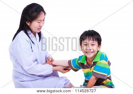 Concept Photo Of Children Health And Medical Care.  Isolated On White.