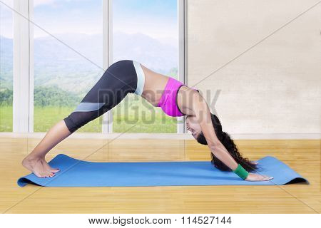 Sporty Woman Doing Yoga Exercise
