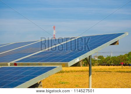 Solar Cell Power With Blue Sky