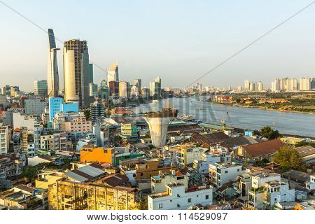 HO CHI MINH CITY, VIETNAM - JAN 15, 2016: Top view of Ho Chi Minh City. Ho Chi Minh, former Saigon, is located in the South of Vietnam, is the country's largest city, population 8 million.