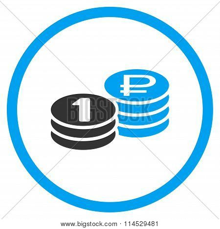 Rouble Coin Stacks Flat Icon