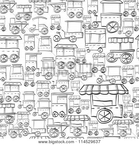 Seamless sketch vector pattern for street trade