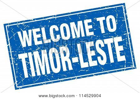 Timor-Leste blue square grunge welcome to stamp