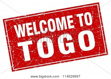 Togo red square grunge welcome to stamp