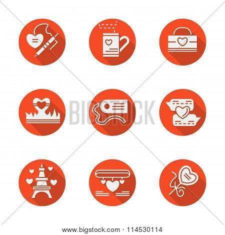 Love red round flat vector icons set