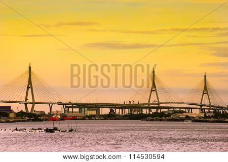 view of suspension bridge across Choa Phraya river Bangkok Thailand
