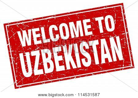 Uzbekistan red square grunge welcome to stamp
