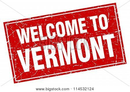 Vermont red square grunge welcome to stamp