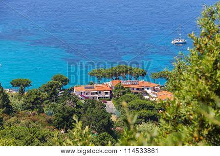 Coast Of Tyrrhenian Sea On Elba Island, Italy. View To San Andrea
