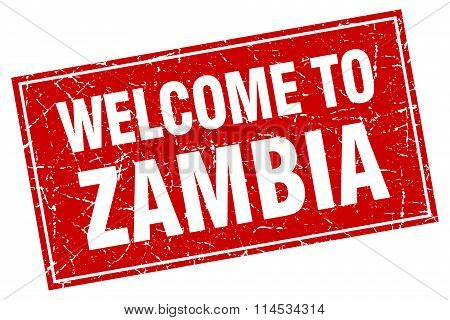 Zambia red square grunge welcome to stamp